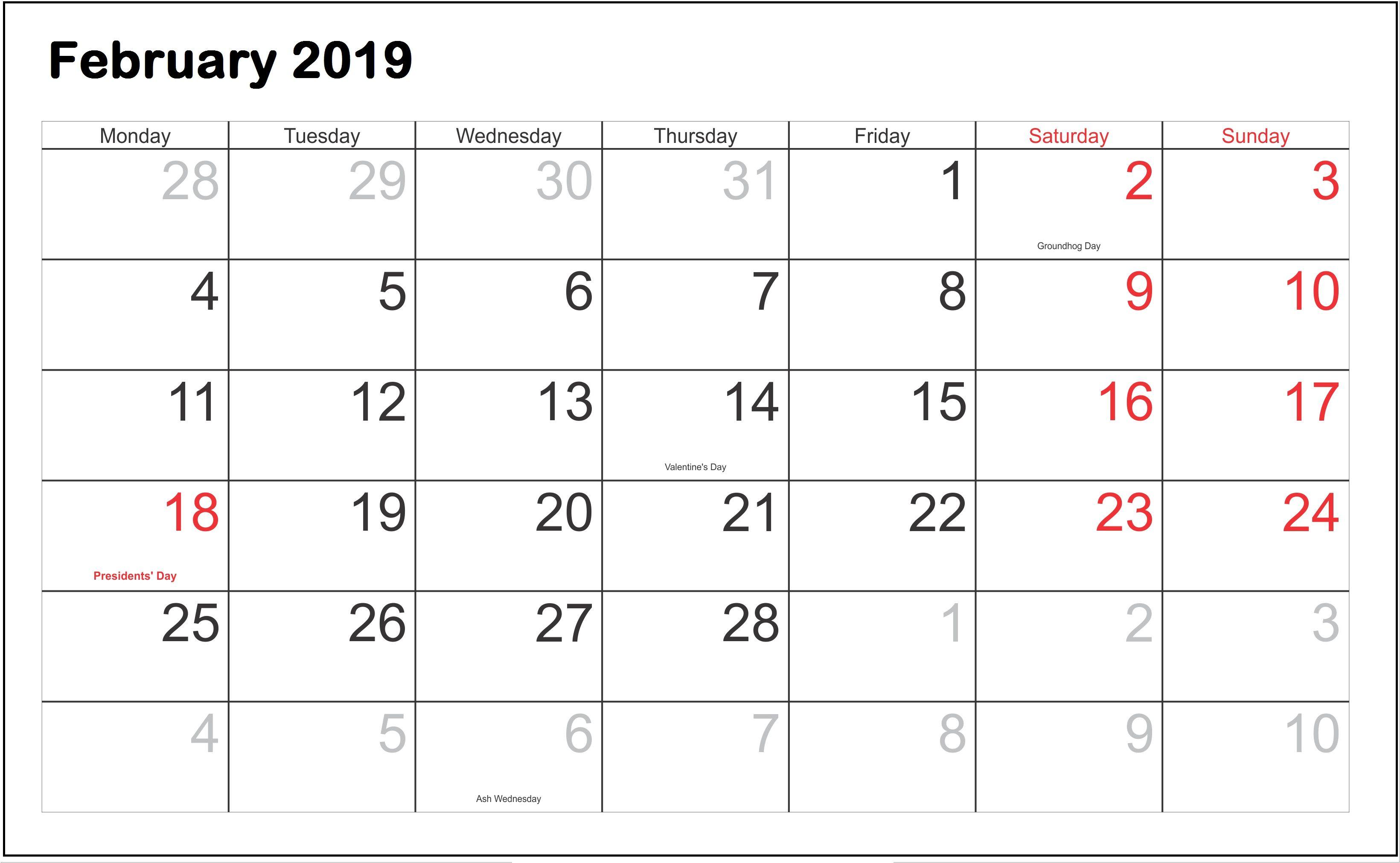 February 2019 Calendar National Print February 2019 Calendar #February #february2019 #USA