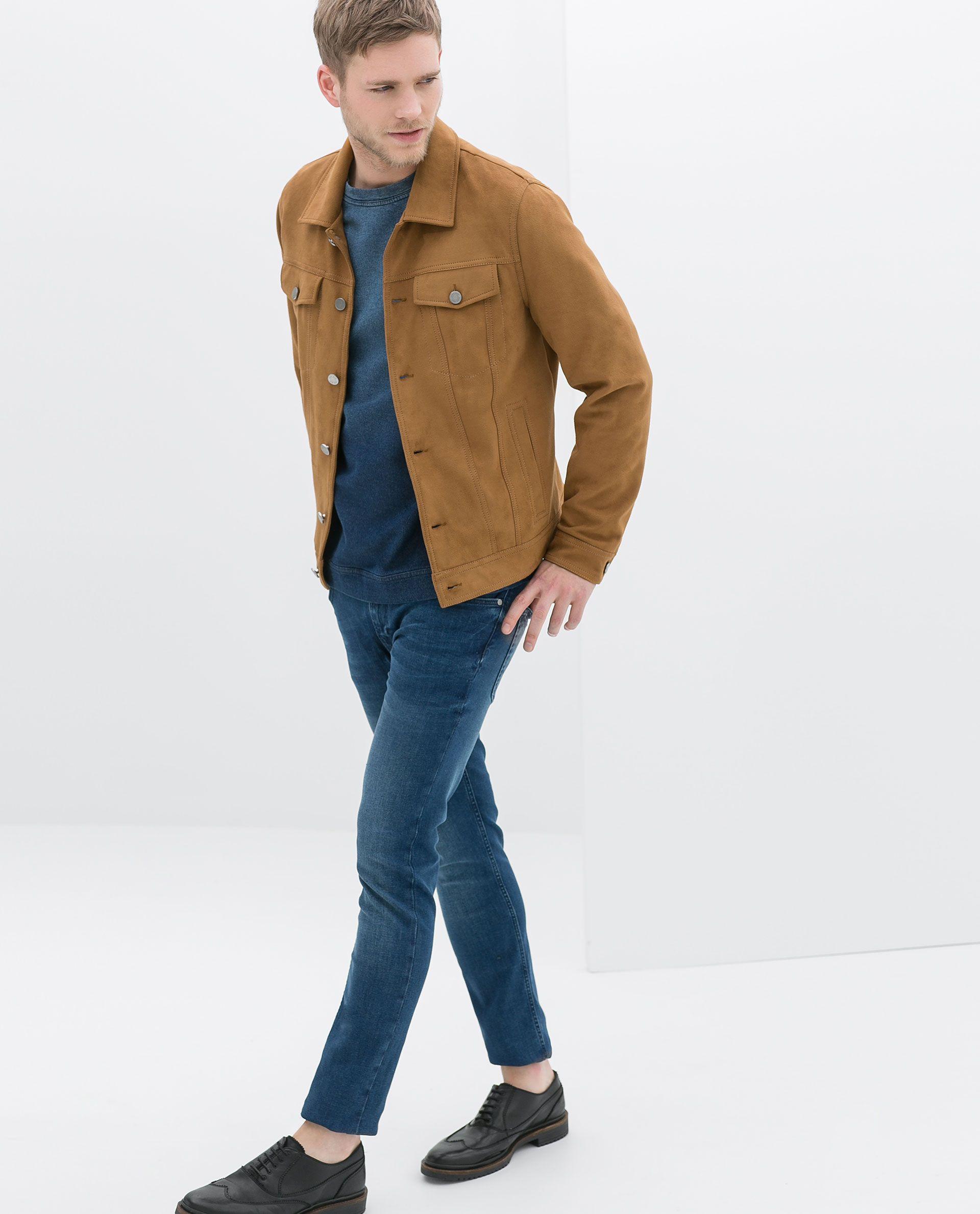 Zara Faux Suede Denim Style Jacket With Pocket In Orange For Men Mustard Lyst Denim Fashion Jackets Zara