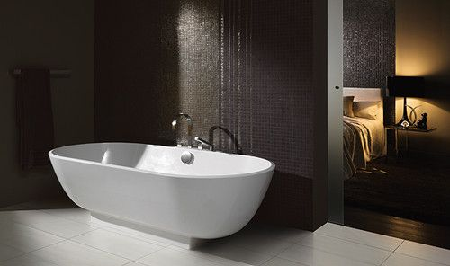 Modern Bathroom Tile dark walls light floor Home Ideas