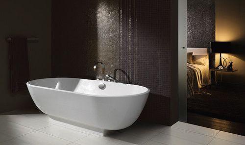 Modern Bathroom Tile Dark Walls Light Floor Modern Bathroom