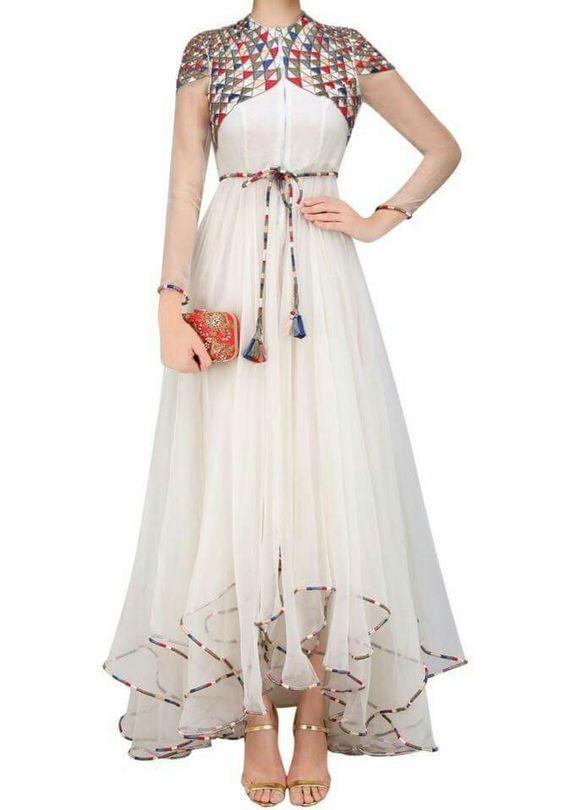 FatimaBi Gherdaar White Plus Size Dres Bridal Designer Partywear ...