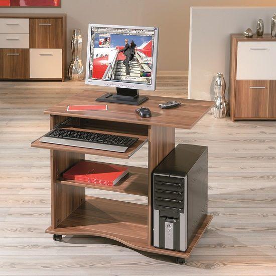 Remington Contemporary Computer Desk In Walnut With Castors Part 67