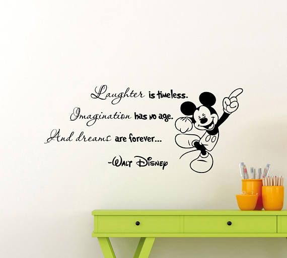 Laughter Is Timeless Walt Disney Quote Mickey Mouse Vinyl Wall Art Sticker