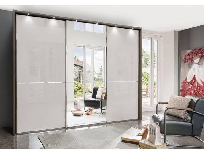Wiemann Schwebeturenschrank Glasfront Und Spiegel Shanghai Braun M Sliding Wardrobe Chrome Colour Furniture