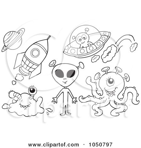 Royalty Free Rf Clip Art Illustration Of A Coloring Page Of Aliens