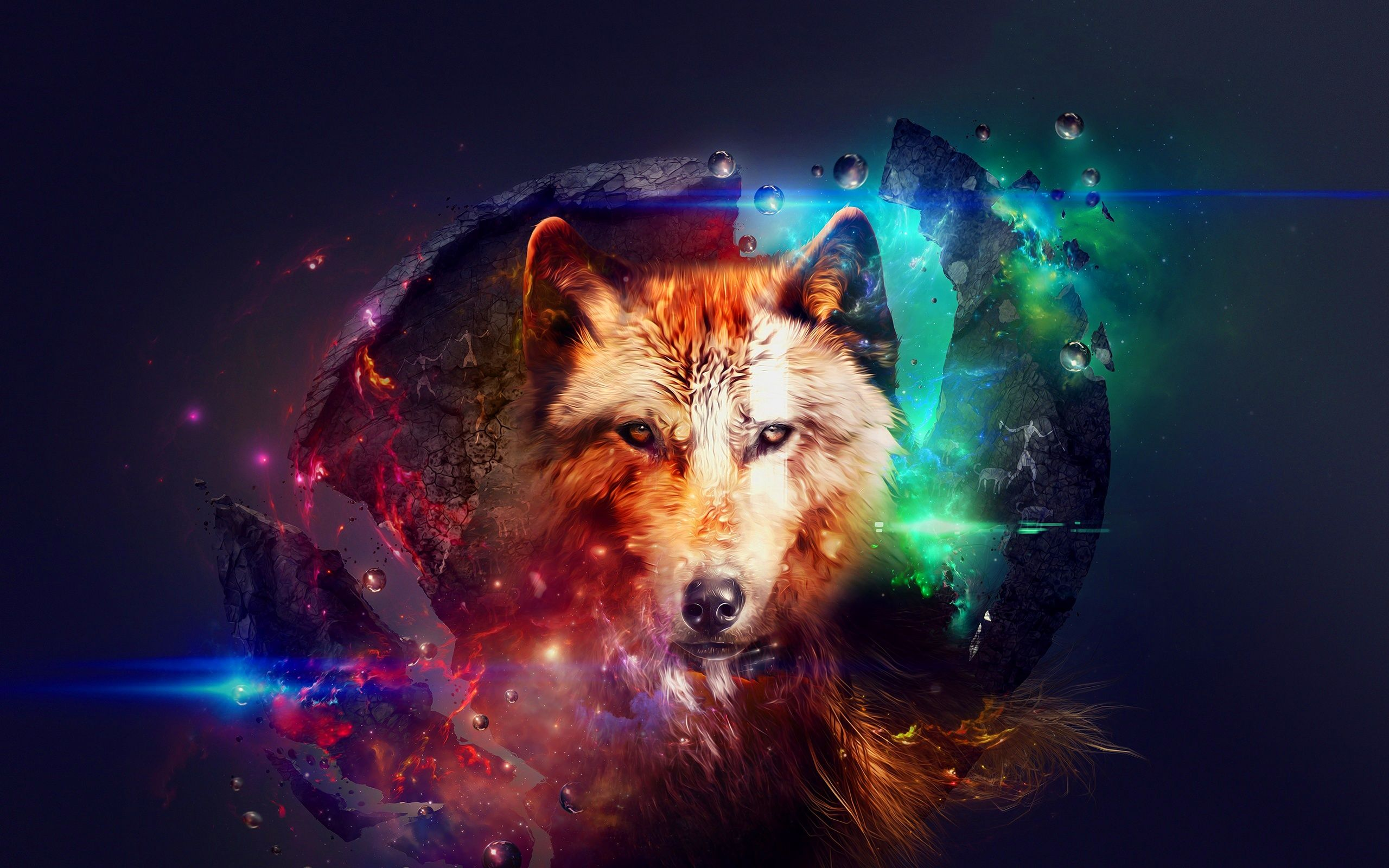 Galaxy Wolf Wallpaper With Images Abstract Wolf Wolf