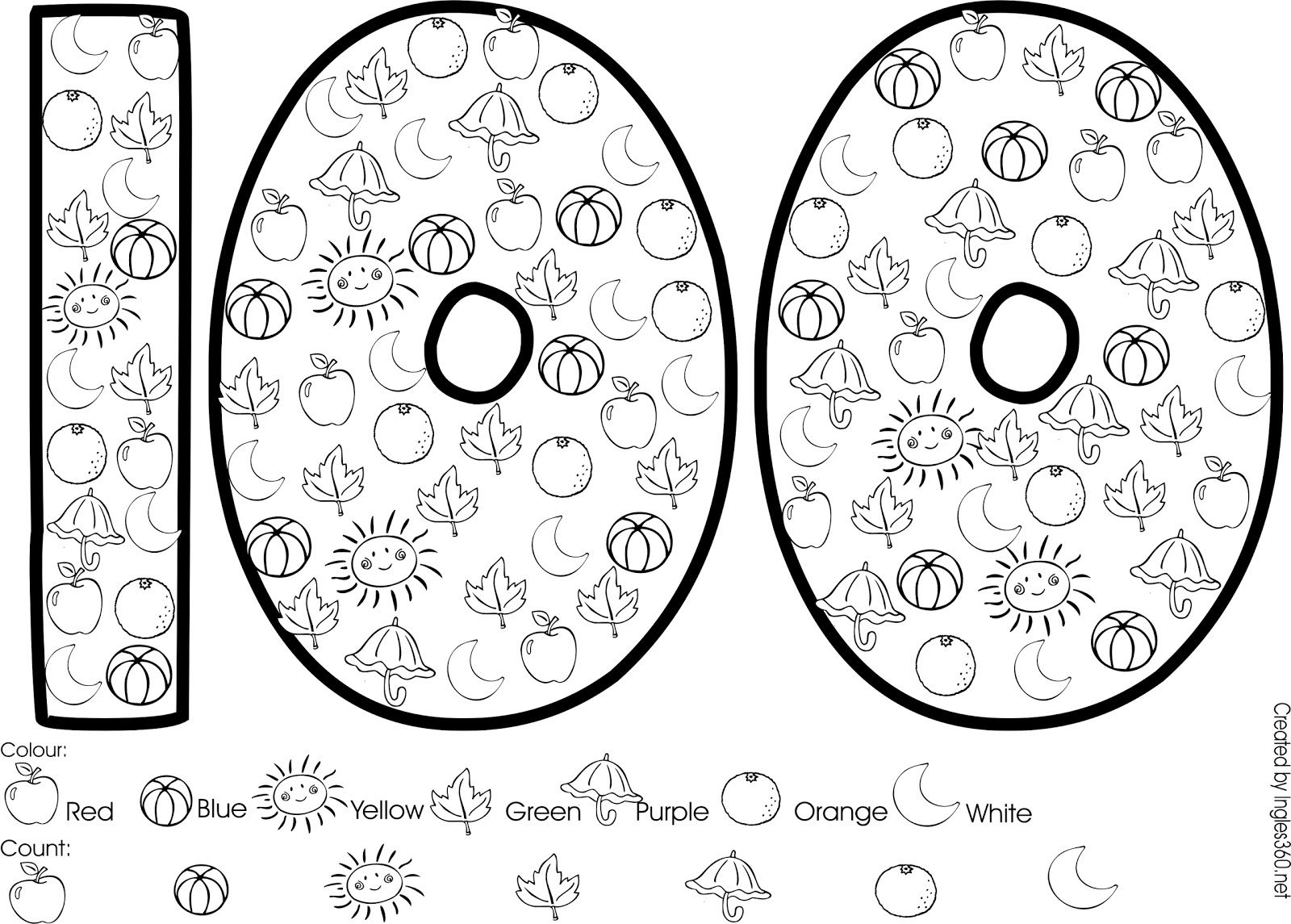 100th day of school coloring pages   Kingergarten   Pinterest ...