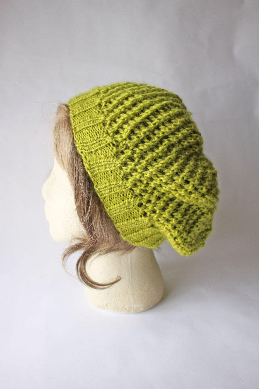 f44357b2076 Chartreuse Green Slouchy Knit Hat