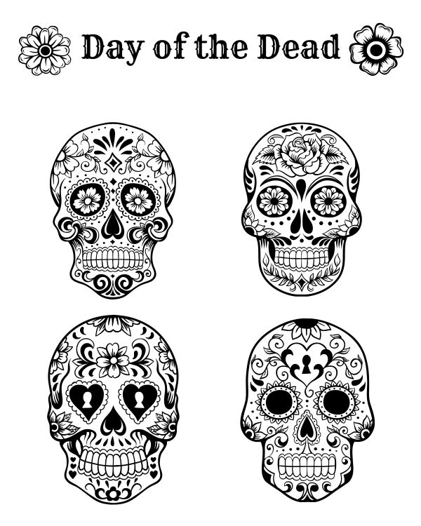 Free Printable Day of the Dead Coloring Page Autumn Pinterest