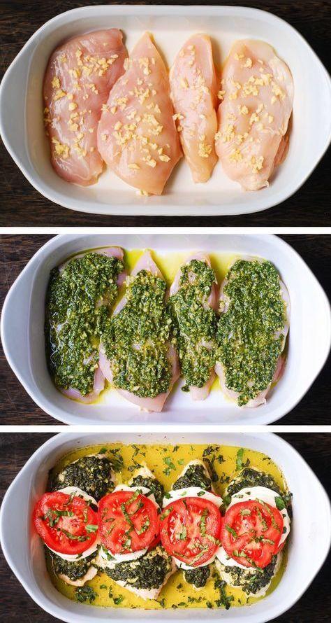 Photo of Basil Pesto Tomato Mozzarella Chicken Bake