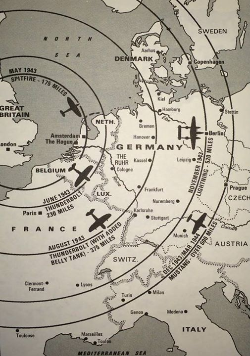 Map Of England During Ww2.Range Of Fighter Escorts From Their Bases In England During Wwii