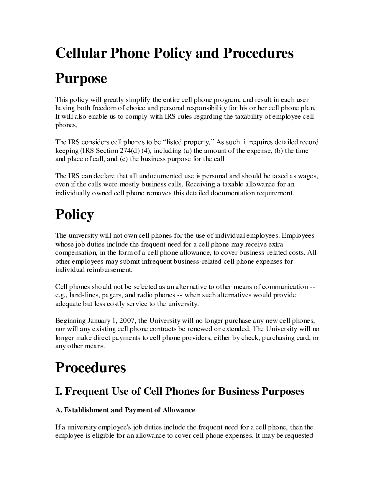 Printable Sample Cell Phone Policy Form  Laywers Template Forms