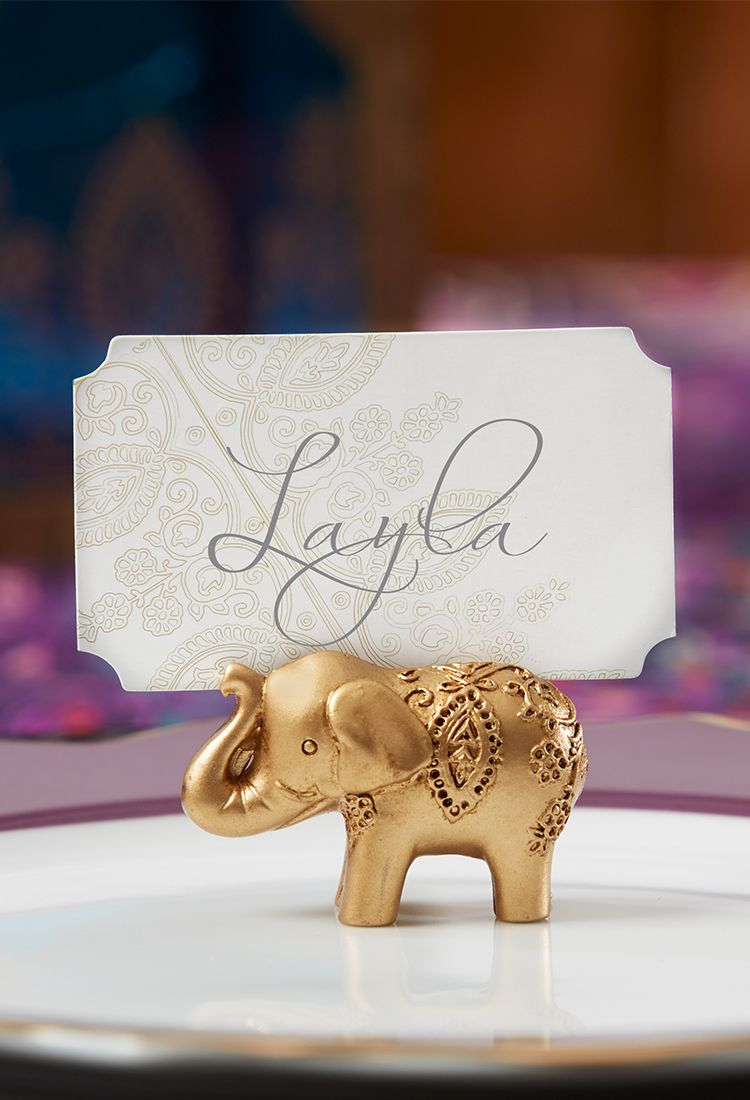 Gold Lucky Elephant Place Card Holders (Set of 6) | Place card ...