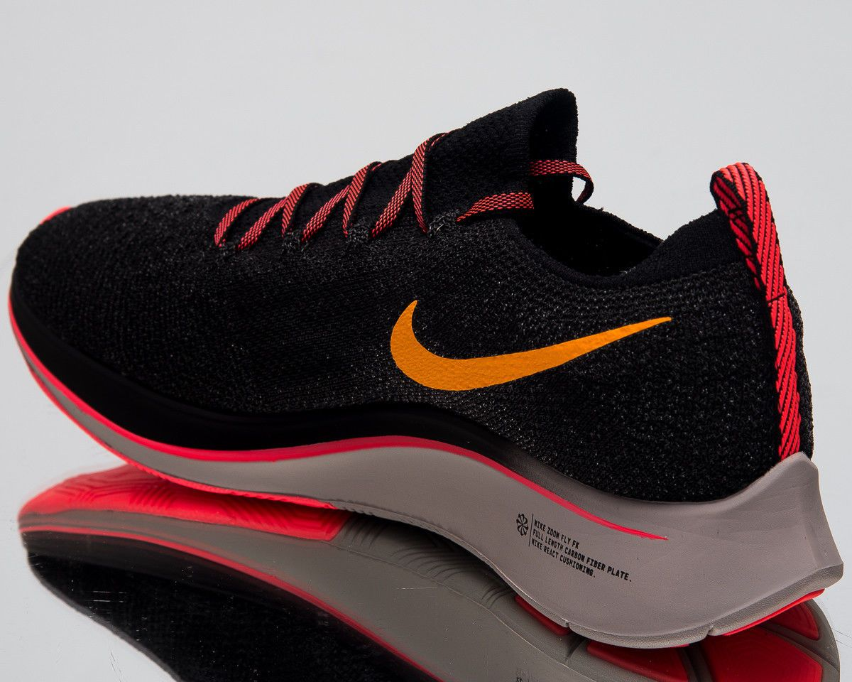 0f1ab2409f98 Nike Zoom Fly Flyknit Running Shoes Black Orange Peel 2018 Sneakers AR4561- 068