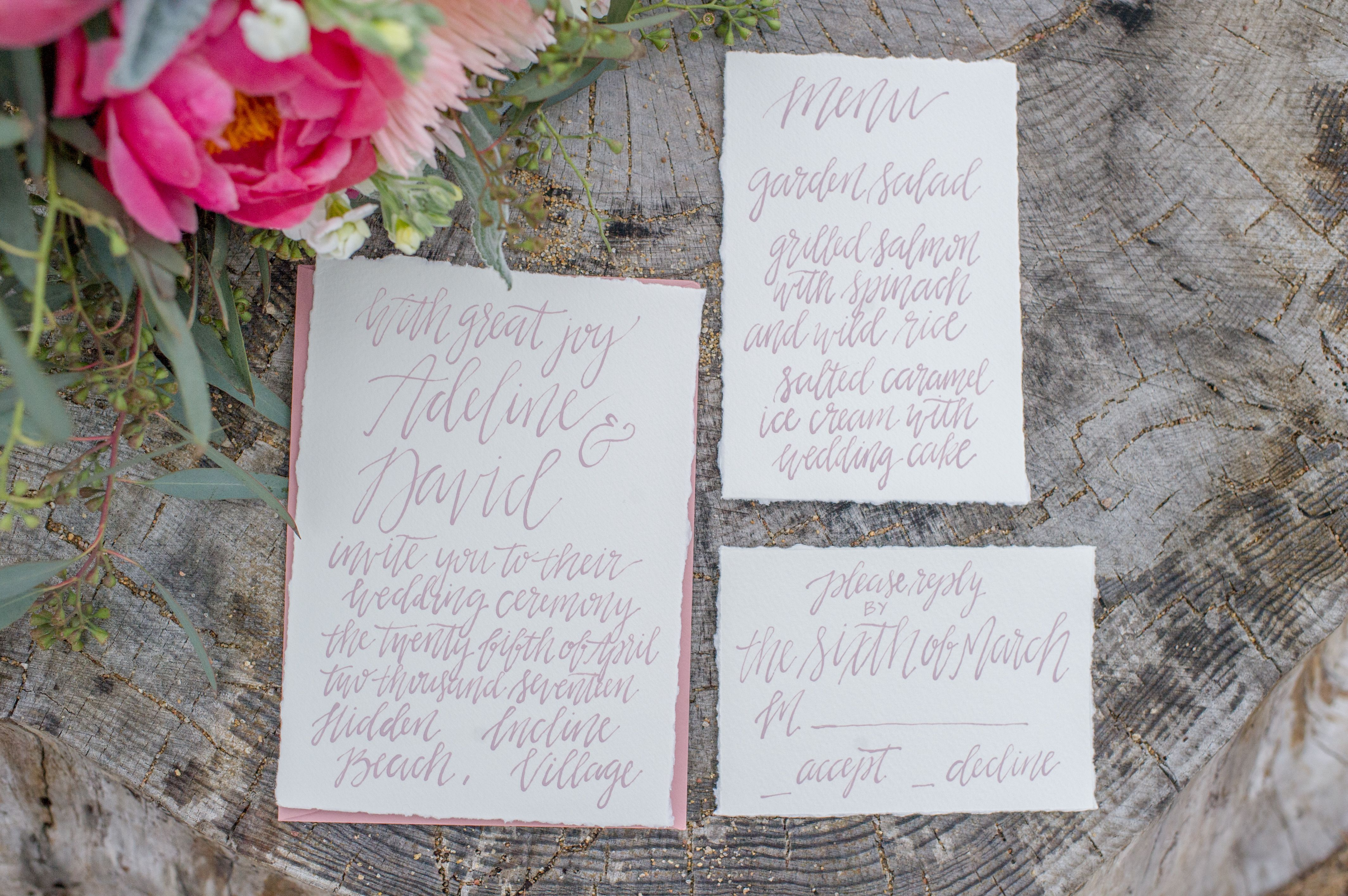 Romantic blush custom calligraphy ink on Arturo deckled edge paper with matching envelope • Photography by Lacey Dippold Photography • Styled Shoot, Hidden Beach, Incline Village, Lake Tahoe, Nevada • Nevada Wedding, California Wedding, Lake Tahoe Wedding