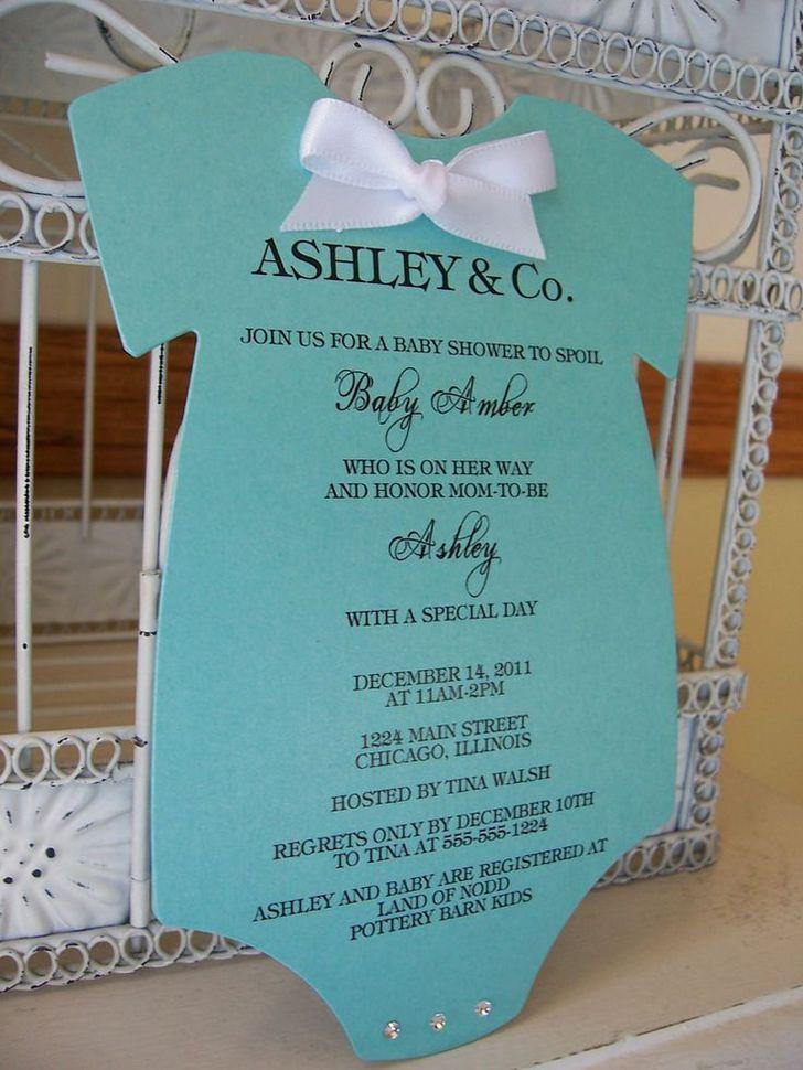 Homemade Baby Shower Invitations Tiffany Onesie By Beautifullyinviting