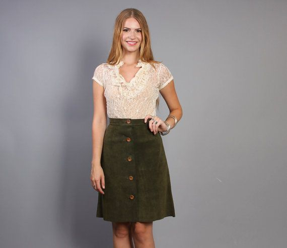 Vintage 70s Custom Moss Green SUEDE SKIRT #fallfashion | Lucky ...