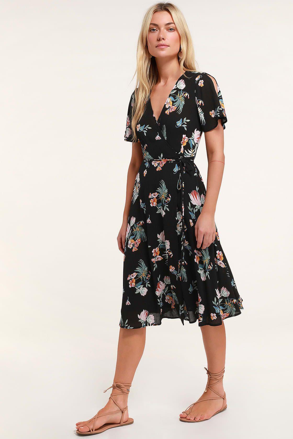Jet Set For Sun Black Tropical Print Wrap Midi Dress Floral Print Midi Dress Dresses Cute Floral Dresses [ 1680 x 1120 Pixel ]