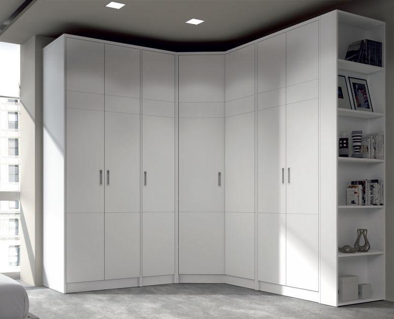 Closet armario a medida rinconero blanco detalle kubik en las puertas horta - Armarios de esquina a medida ...