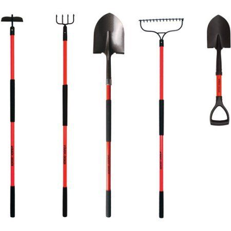 Beau 5Piece Tempered Steel Head LongHandled Garden Tool Set Black    Learn More  By Visiting The Image Link.