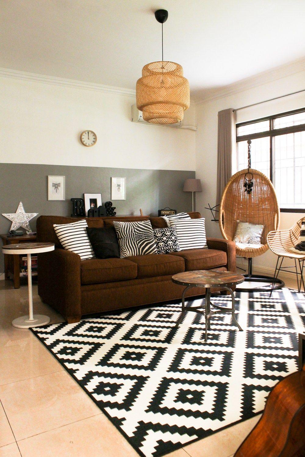 Black White With Wicker Family Room Black Carpet Living