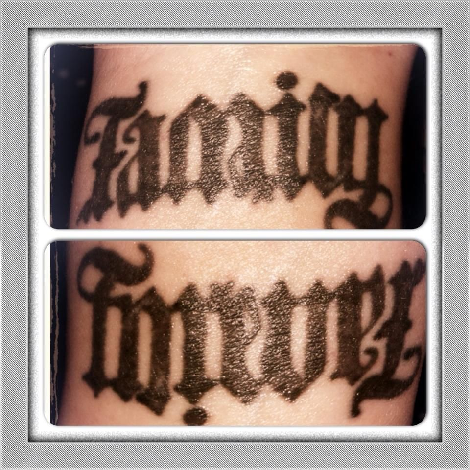 my family/forever ambigram tattoo! Ambigram tattoo