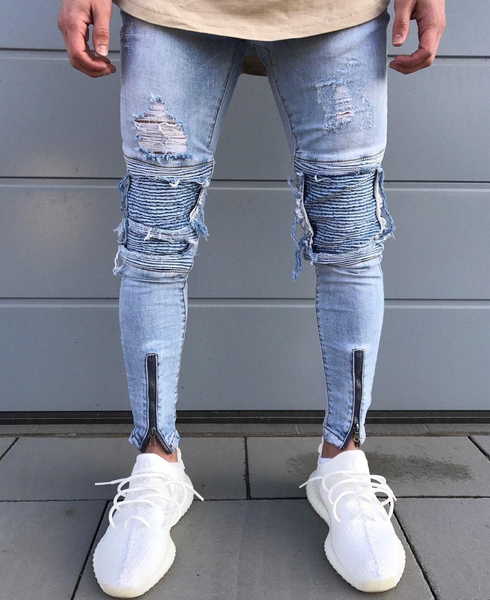 250505fc1c 2017 nuevos hombres hip hop zipper ripped biker Vaqueros moda slim fit  motocicleta Vaqueros hombres distressed holes skinny Denim joggers  pantalones
