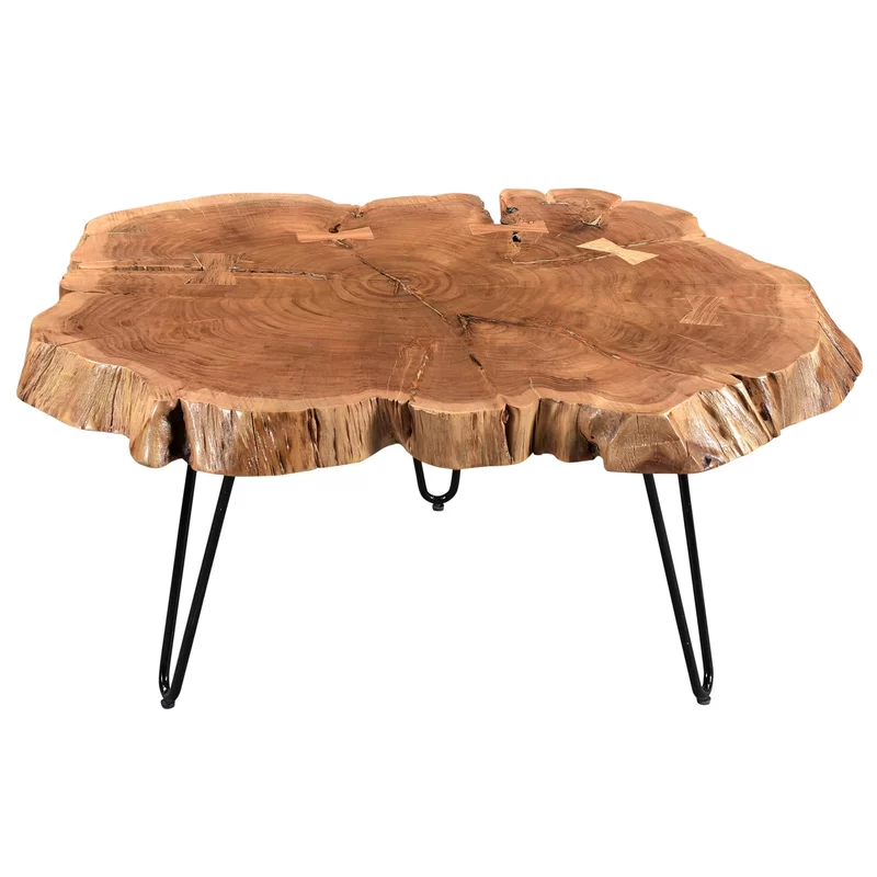 Etchison Acacia Wood Coffee Table Coffee Table Wood Iron Coffee