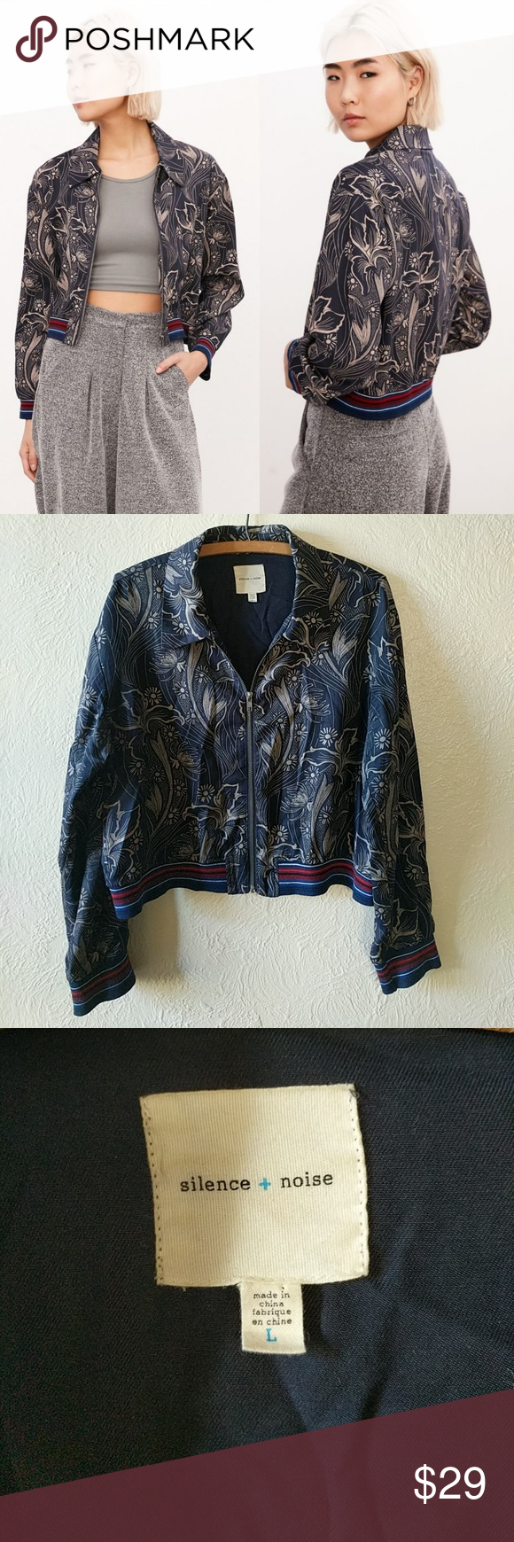 4d346a84f Silence + Noise Iris Floral Bomber Jacket Size L Go downtown in this ...