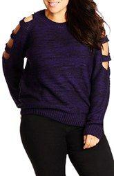 City Chic Cutout Sleeve Sweater