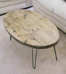 Reclaimed Wood Oval Coffee Table With Hairpin Legs