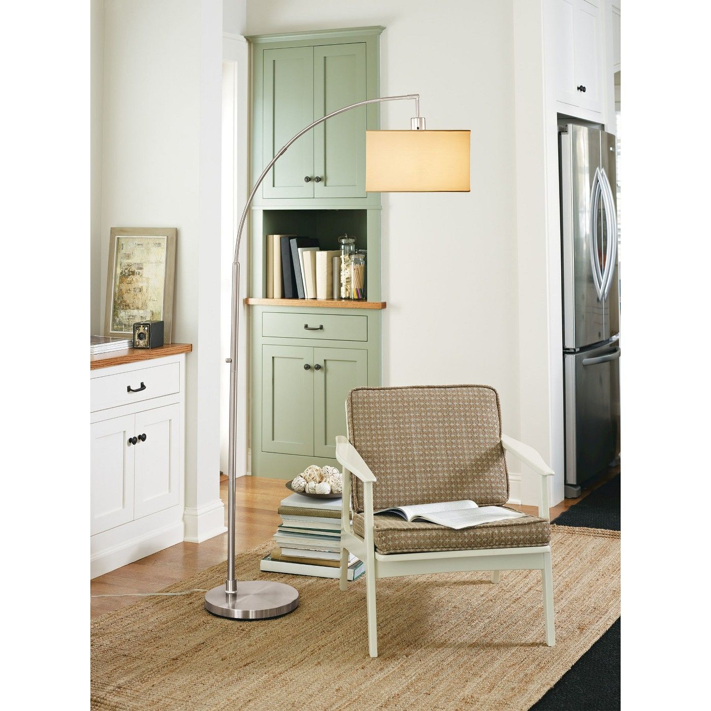 Avenal Shaded Arc with Marble Base Floor Lamp Nickel - Project 17