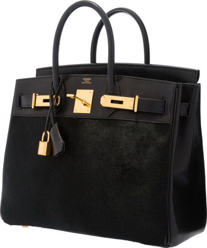 Hermes Limited Edition 28cm Black Ponyhair   Evercalf Leather Troika HAC  Birkin Bag with Gold Hardware. 47dea3a317538