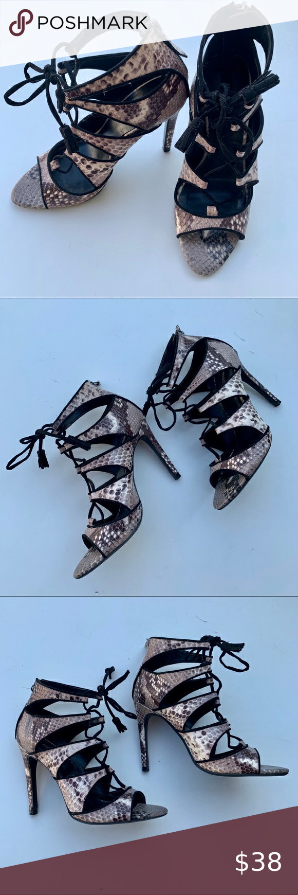 Zara Python Skin Lace Up Sandal Heels In 2020 Lace Up Sandals Sandals Heels Lace Up Sandal Heels