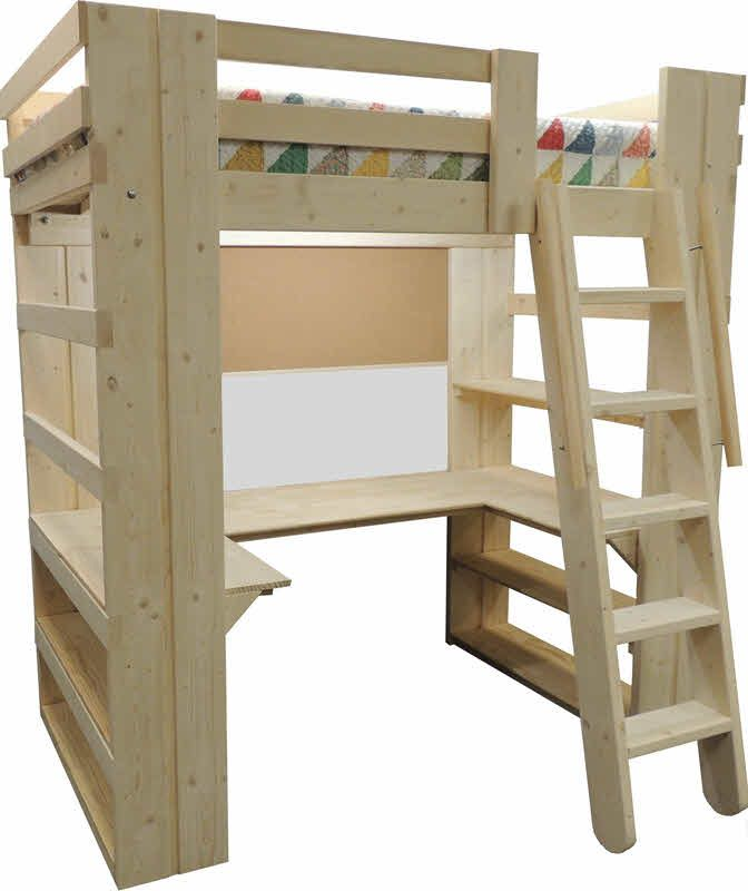 loft beds for kids youth teen college u0026 adults handcrafted solid wood madetoorder heavy duty space saving beds with steps desk u0026 storage for boys