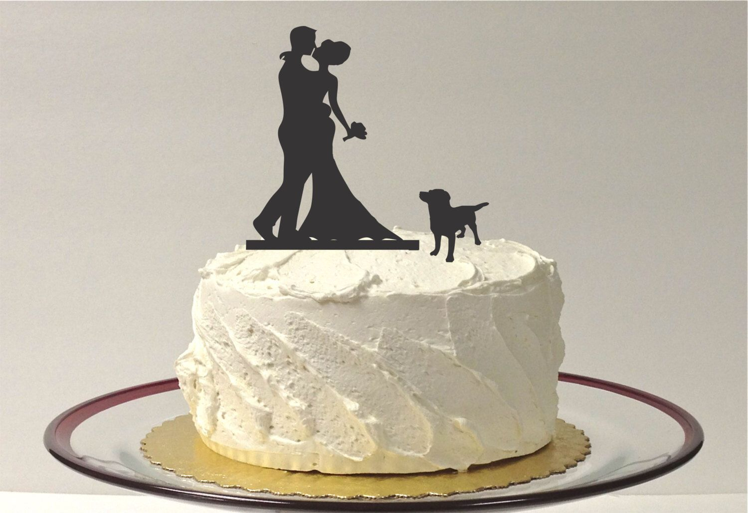 Wedding cake topper with dog choice silhouette wedding cake topper
