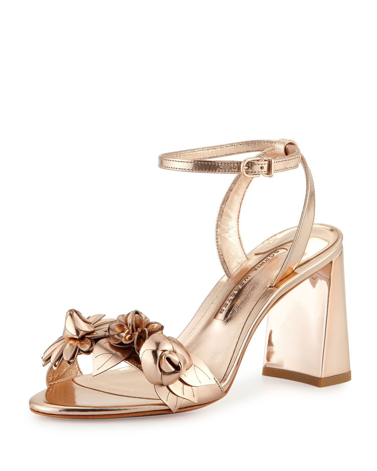 f5158f1ebfe Sophia Webster Lilico Floral Leather 85mm Sandal in Rose Gold