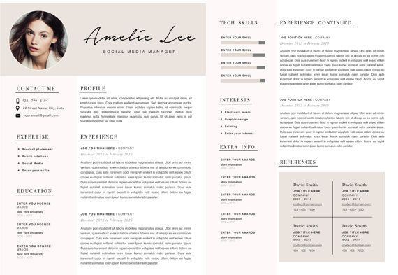 Creative Resume Template Minimalist Resume Cv Design Resume With Photo Clean Resume Curriculum Vitae For Mac Or Pc Coverletter 2 Page Creative Resume Creative Resume Templates Resume Template
