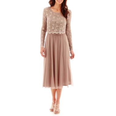 246ee0f00b R M Richards Long-Sleeve Popover Lace and Chiffon Dress - Petite found at.  Find this Pin and more on Mother of the Bride-dresses ...