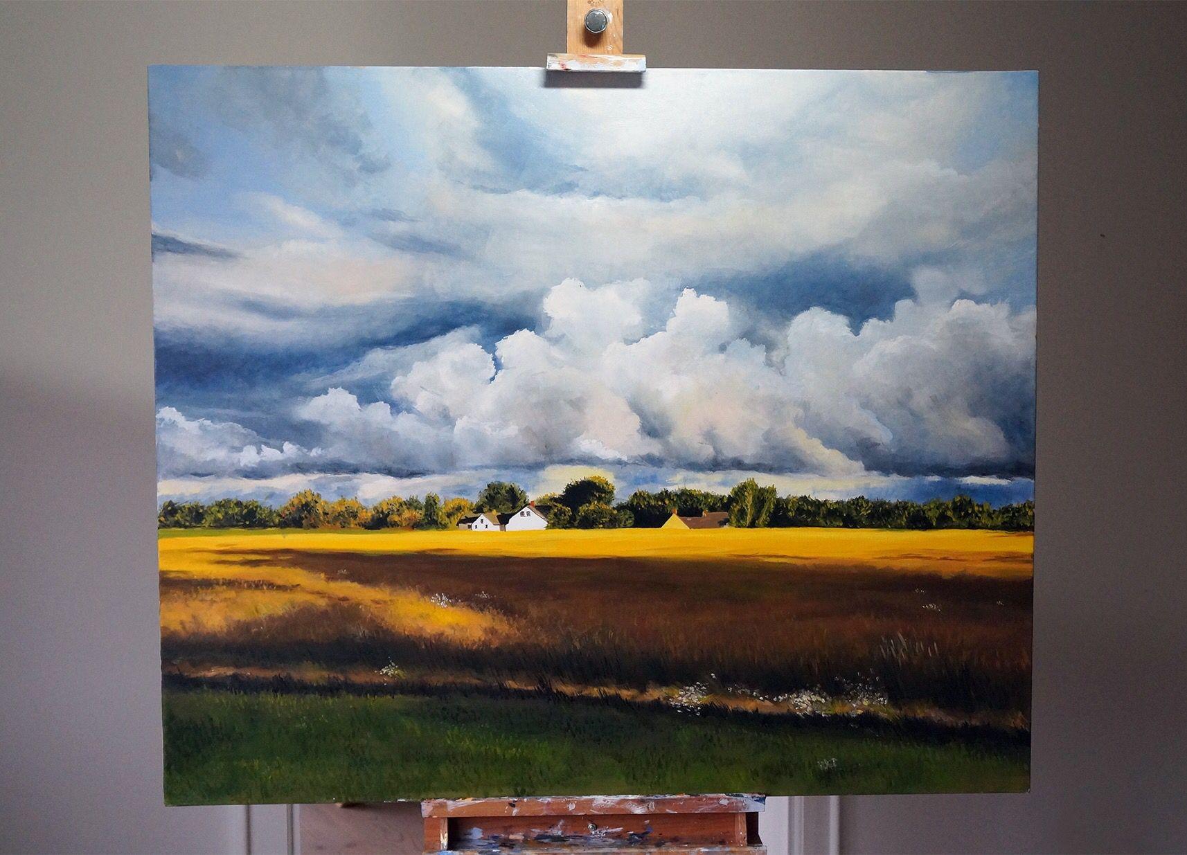 """View from Kikhavn"". Painting by Jonas Linell 2016, oil on canvas, 120 x 100 cm. Price: €1400 / £1200 / $1500. See more of my works at jonaslinell.com #jonaslinell #art #painting #landscape #kikhavn #oil #oiloncanvas #canvas #artwork #country #countryside #landskab #kusnt #maleri #olie #lærred #nordsjællan #hundested #denmark #clouds #skyer #sky #himmel #fields #mark"