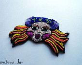 Alice in Wonderland Jewelry - Colorful Bead Brooch - March Hare - MADE TO ORDER. $98.00, via Etsy.