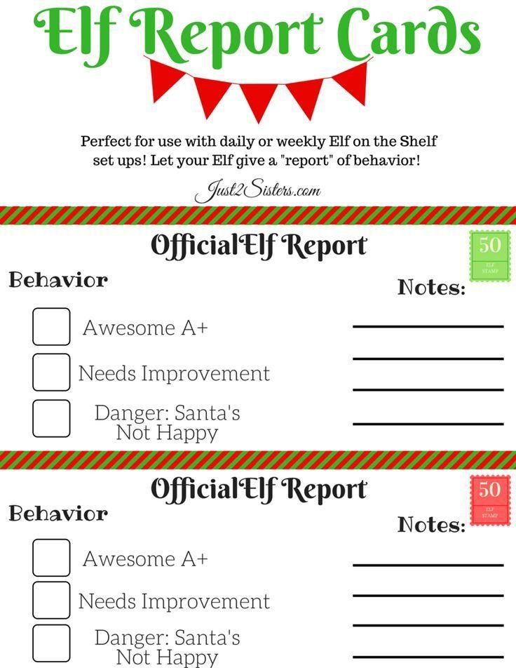 Elf On The Shelf Report Card Printable  Elves Shelves And Holidays