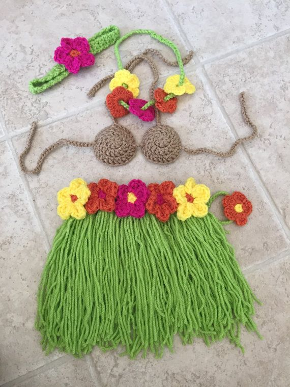Crochet Newborn Hawaiian outfit luau crochet by ...