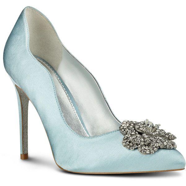 0734060c28 Nine West Elizza Pointy Toe Dress Pumps ($109) ❤ liked on Polyvore  featuring shoes, pumps, scarpe, light blue satin, antique pump, glitter  shoes, light ...