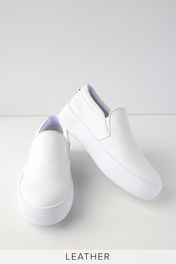 Gills White Leather Flatform Sneakers