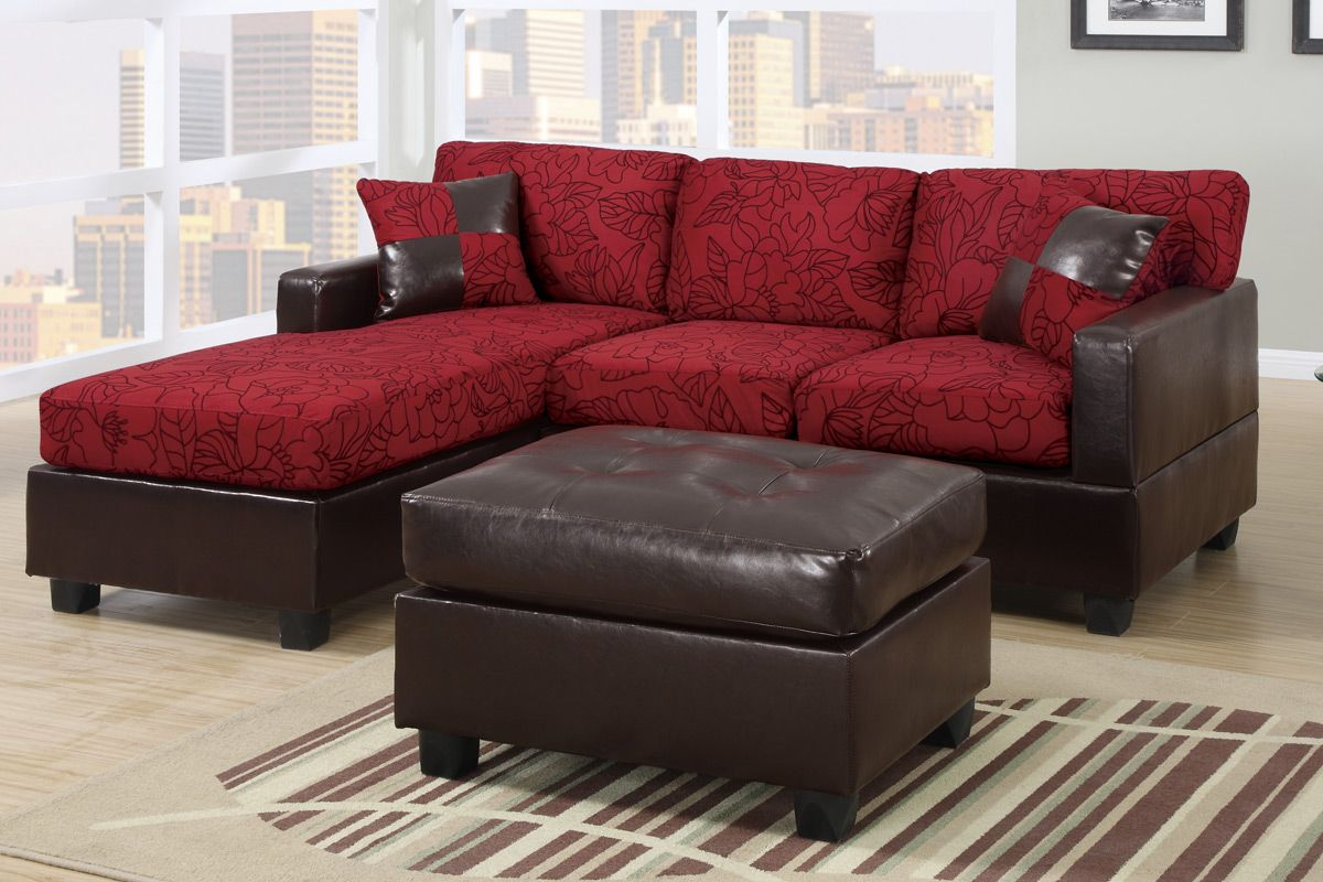 3 Pc 2 Tone Red And Chocolate Floral Pattern Fabric Upholstered Sectional  Sofa With Reversible Chaise And Ottoman. This Set Includes The 2 Pc  Reversible ...