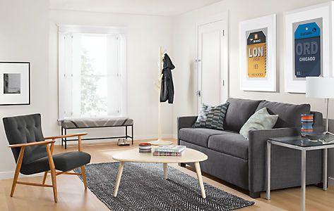 Kavya Modern Bench Campbell Sofa In Sumner Graphite