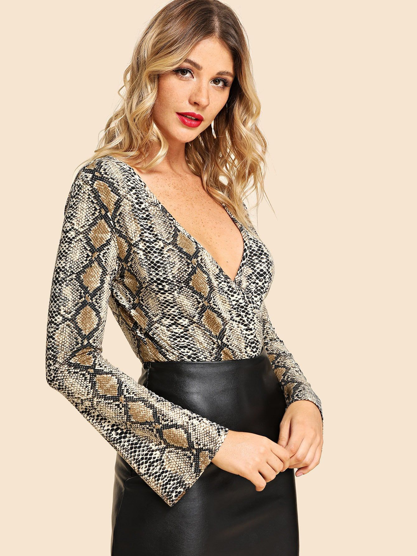 e0a9ac3352ba Glamorous and Sexy Tshirt Animal Regular Deep V Neck Long Sleeve Mid Waist Multicolor  Mini Length Graphic Print Deep V Neck Bodysuit