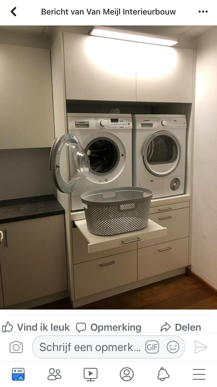 Uitschuifbare plank onder de wasmachine/droger: handig om de wasmand op de zetten. #laundryrooms