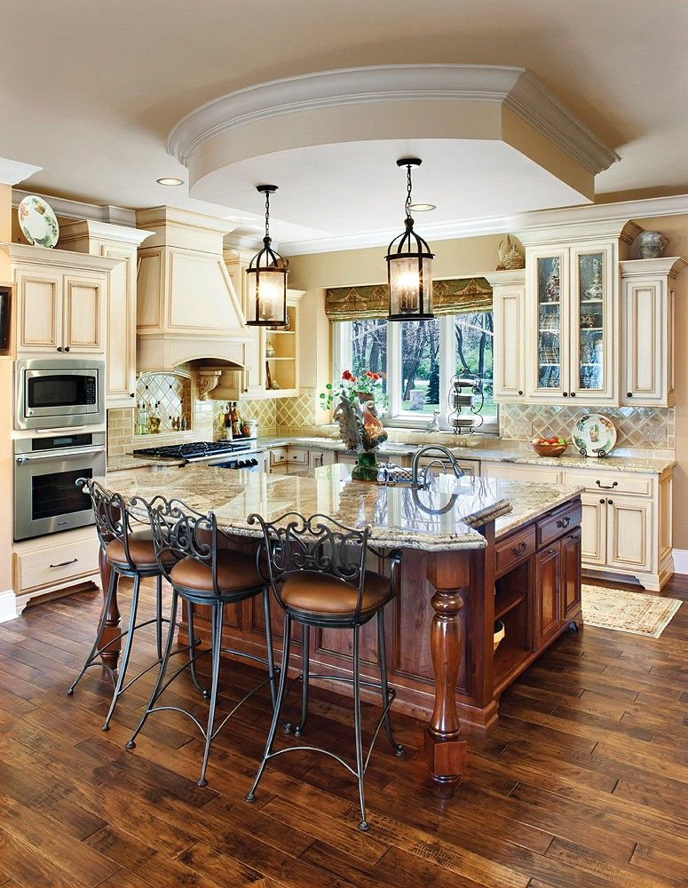 Black Island Cream Cabinets Cream Colored Kitchen